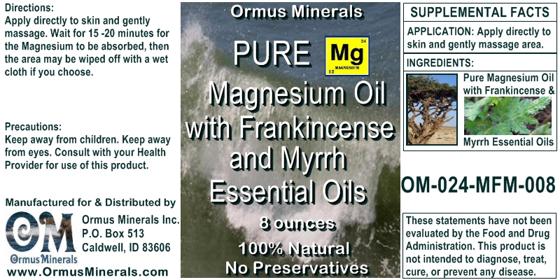 Ormus Minerals Magnesium Oil with Frankincense & Myrrh Essential Oils