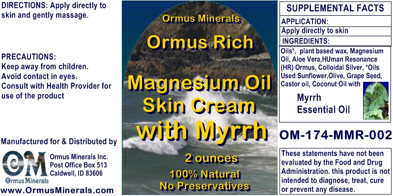 Ormus Minerals Ormus Rich Magnesium Oil Skin Cream with Myrrh